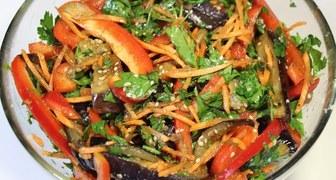 Баклажаны по корейски c морковью и перцем