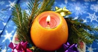 Новогодний подсвечник из апельсина фото