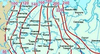 Глубина промерзания грунта в городах России
